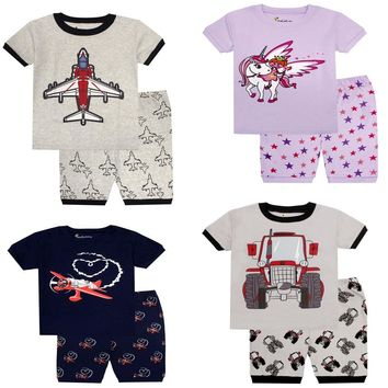 TINOLULING baby girls unicorn pajamas children summer cotton pajamas sets baby girl clothes  sleepwear pyjamas 2-8yearsKawaii Pokemon go  AT_89_9