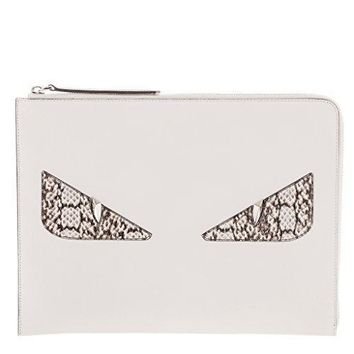 Fendi Women's Croc Embossed 'bag Bugs' Clutch White White