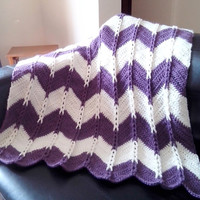Crochet Chevron Blanket -Purple and Cream Afghan