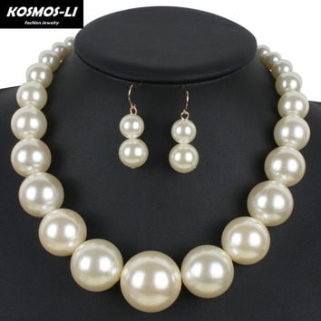 Pearl Strand Jewelry New Fashion Simulated Pearl Classic Necklace Big Pearl Bead Choker Women Pearl Collar Necklace 8052S