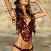 Burgundy Braid Crochet Bikini Set