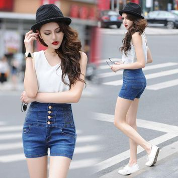 ca ICIKTM4 High Waist Shorts Summer Extra Large Jeans [10201396423]