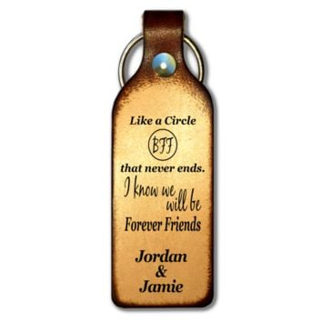 Forever Friend Personalized Leather Keychain