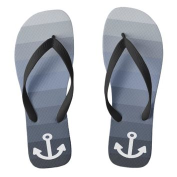 Blue and gradient gray ocean colors and anchor flip flops