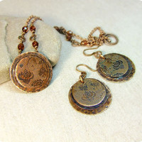 Copper jewelry set: earrings and necklace by RadhikaJewelry