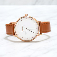 Nixon Kensington Leather Rose Gold and White Watch