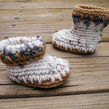 Crochet Baby Booties - Baby Mocassins - Earthy Brown and Natural Tweed Baby Shoes - Indian Mocassin Inspired