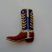 Ladies Cowboy Boot Pin/Brooch with Crystals Enamel & Gold Overlay