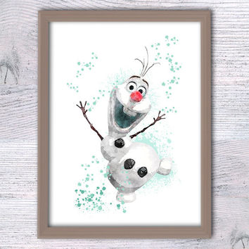 Disney Olaf print Frozen Olaf the Snowman art poster Disney Frozen wall decor Nursery room decor Baby shower gift Kids room wall art V138