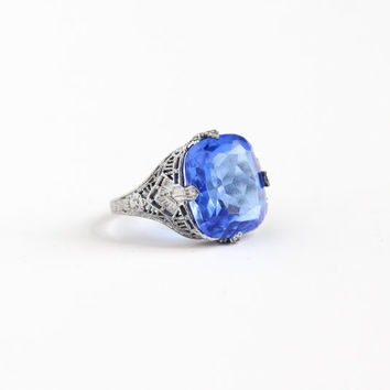 Vintage Art Deco Sterling Silver Simulated Sapphire Ring - Uncas 1930s Size 7 1/4 Flower Leaf Filigree Blue Glass Stone Statement Jewelry