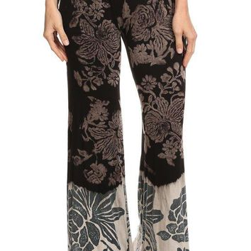 Two Color Dye Flower Vintage Print Flare Pants with Elastic Waistband