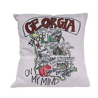 Georgia Roadmap Duck Cloth and Burlap Pillow by Southern Roots