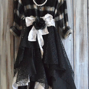 Gypsy Vagabond Duster Coat, Fall flannel long jacket, Romantic lagenlook autumn dress, True rebel clothing, Country shabby dresses Plus Sz