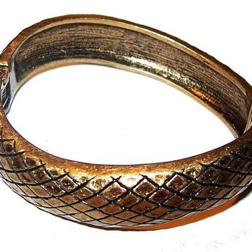 Python Cuff Bracelet Signed Lia Sophia Hinged Geometric Cross Hatch Design Vintage