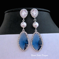 Blue Wedding Earrings Pearl Sapphire Blue CZ Prom Bridal Jewelry - Vivian Feiler Designs | Wedding