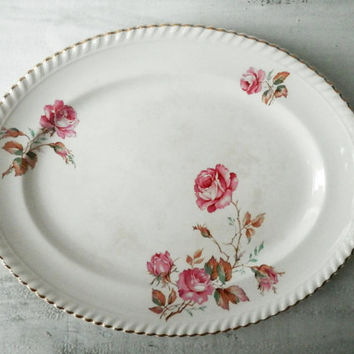 Vintage Floral Platter, Johnson Brothers, Old English, Pink Roses, Serving Plate, Shabby Chic, Rustic Kitchen