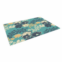 "Zara Martina Mansen ""Teal Color Bouquet"" Green Blue Indoor / Outdoor Floor Mat"