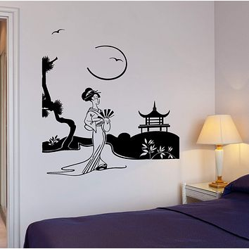Wall Decal Geisha Japan Pagoda Japanese Views Decor Unique Gift z3997