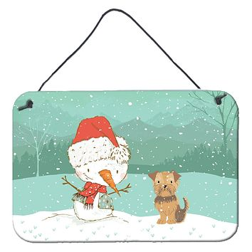 Yorkie Natural Ears Snowman Christmas Wall or Door Hanging Prints CK2099DS812