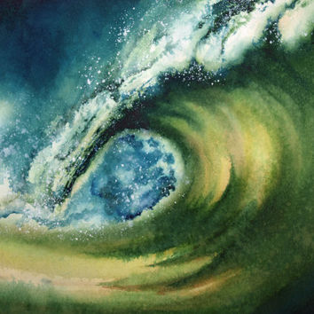 Surf Art, Original Painting Surf Painting, Green Wave, Beach, Surf, Surfing, Hawaii, SoCal, Cocktail, Surfer, Surfboard, Unique Art