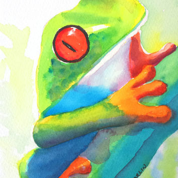 Colorful Frog, Red Eyed Tree Frog, 5x7, Original Watercolor, Tropical, Rainforest, Costa Rica, central america, animal,amphibian