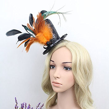 Women's Steampunk Victorian Mini Top Hat Pillbox Hat Costume Accessory with Peacock Feather (Color 1)