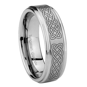 10MM Step Edges Celtic Knot Tungsten Carbide Silver Men's Ring