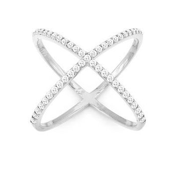 X Ring, Silver with Clear CZ