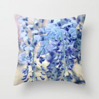 Textured Wisteria in Vintage Pastels Throw Pillow by micklyn
