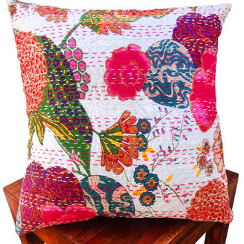 Tropical white kantha cushion cover , indian cushion, cotton cushion ,handmade cushion ,kantha pillow,sofa couch