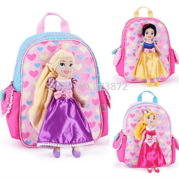 Cute Rapunzel Snow White Aurora Princess Plush Doll Kindergarten Preschool Backpacks Schoolbag School Bags for Girls Kids Bag