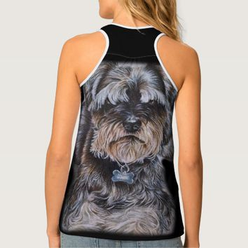 Drawing of Terrier Dog Art Tank Top
