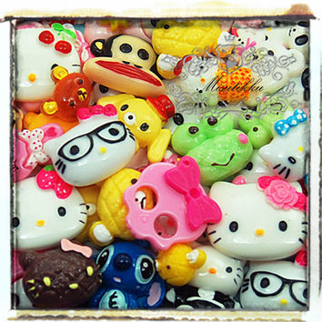 50 PCS Mix Cabochons Cartoon Cabochon Miniature Decoden flatback resin Assorted Cabochon Diy Phone Case Deco Kits (Cartoon Serious) AK.AM