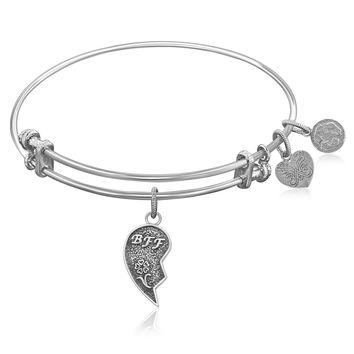 Expandable Bangle in White Tone Brass with Best Friends Forever Symbol