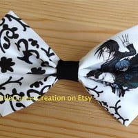 Black Butler Sebastian and Ciel Inspired Hair Bow // Bow Tie.