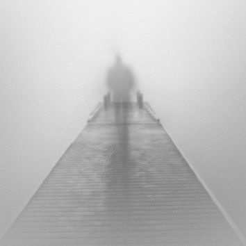 Black and white photography / fog / foggy / surreal / mystery / The Journey, 12 x 17.5 print