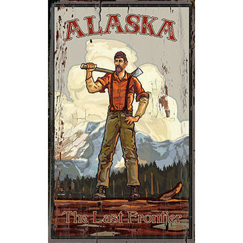 Personalized Alaska The Last Frontier Wood Sign