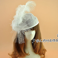 Vintage Wedding Hat 2016 Feather Ladies Party Hats Sexy Real Image Beading Hand Made Hair Accessories For Wedding Cheap Modest