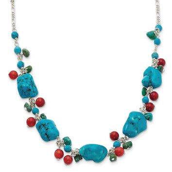 Sterling Silver 16 Inch Dyed Howlite/Turquoise/Red Coral Necklace