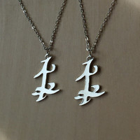 Set of TWO Parabatai Rune Pendant Necklaces Shadowhunters MI-01