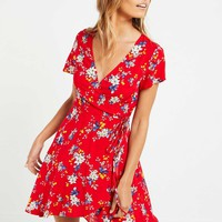 Alli Wrap Dress - Red Floral