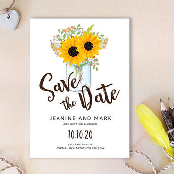 Mason jar save the dates | Sunflower Save the date cards printed | Country barn wedding save the date cards