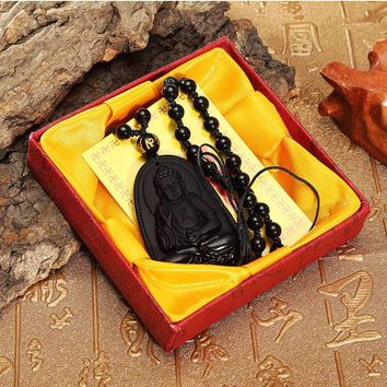 Best Price Natural Black Obsidian Carved Lucky Sakyamuni Buddha Amulet Pendant with Beads Necklace Gemstone Fengshui Crafts Gift