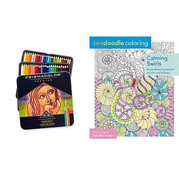 Zendoodle Coloring: Calming Swirls: Stress-Relieving Designs to Color and Display and Prismacolor Premier Soft Core Colored Pencil, Set of 48 Assorted Colors