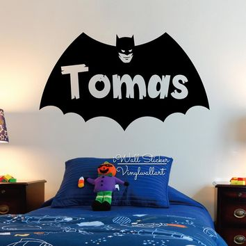 Batman Dark Knight gift Christmas Batman Boys Name Wall Sticker Baby Nursery Boys Name Wall Decal Personalized Batman Name Stickers Cut Vinyl Stickers C54 AT_71_6