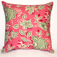 "Pillow Covers 18"" Set of Two - Pink and Green Floral Pattern"