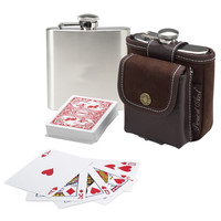 Hip Flask and  Playing Cards Set
