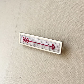 Cross Stitch Arrow Brooch Arrow Pin Embroidered Jewelry Stitched Needlework