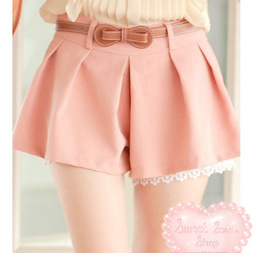 Sweet Soul Shop | Charming Lace Trim Shorts w/ Belt | Online Store Powered by Storenvy