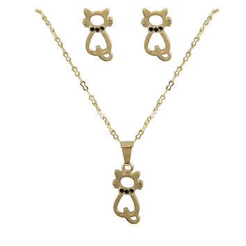 Gold Cat With Black Enamel Dots Post Earrings & Necklace Set Brass